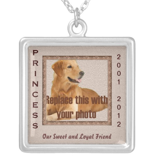 Dog Memorial Brown Tones Silver Plated Necklace