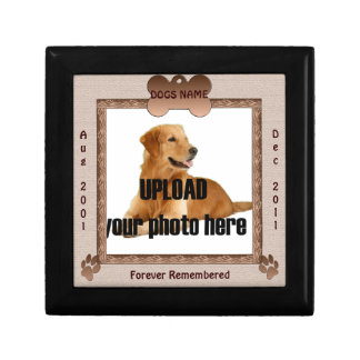 Dog Memorial Brown Tones Small Square Gift Box