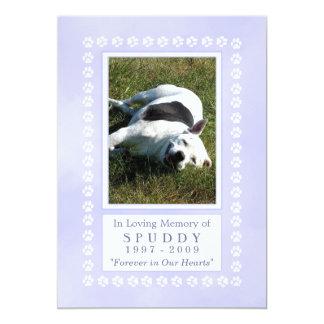 "Dog Memorial Card 5""x7"" - Heavenly Blue Pawprint 13 Cm X 18 Cm Invitation Card"