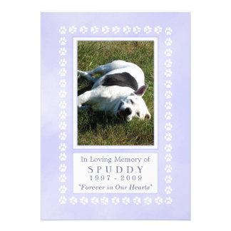 "Dog Memorial Card 5""x7"" - Heavenly Blue Pawprint"