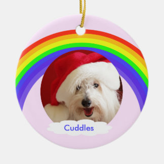 Dog Memorial Christmas Ornament Pink with Rainbow