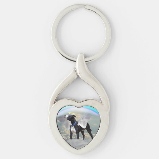 Dog Memorial custom Heart Metal Keychain