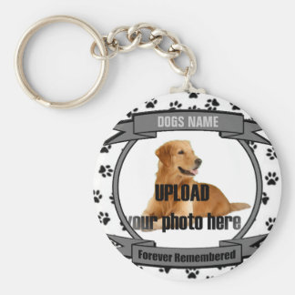 Dog Memorial Forever Remembered Basic Round Button Key Ring