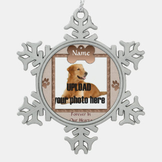 Dog Memorial Keepsake - Beige Snowflake Pewter Christmas Ornament