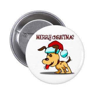 Dog Merry Christmas Button