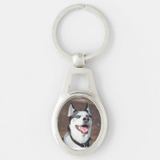 dog Silver-Colored oval key ring