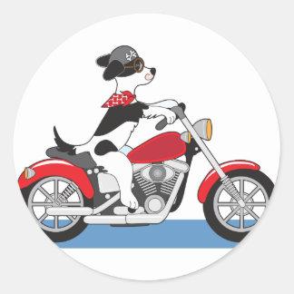 Dog Motorcycle Round Sticker