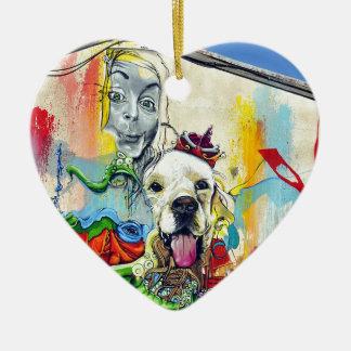 Dog Mural Graffiti Ceramic Heart Decoration
