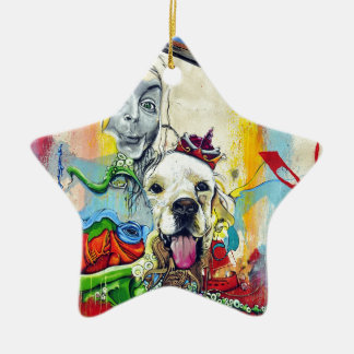 Dog Mural Graffiti Ceramic Star Decoration