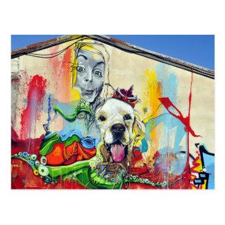 Dog Mural Graffiti Postcard