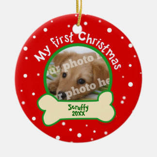 Dog My First Christmas Red and Green Pet Photo Round Ceramic Decoration