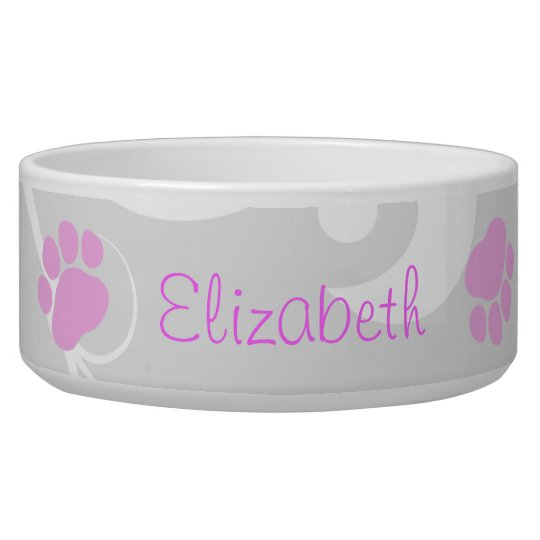 Dog Name, Pink Paws, Letters, Pale Black Pet Bowl