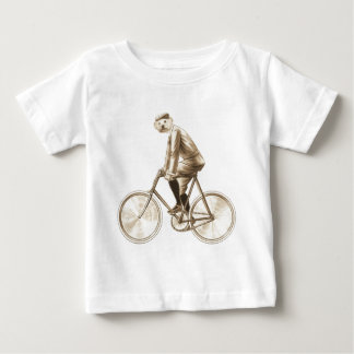 Dog on a bike vintage mixed media print baby T-Shirt