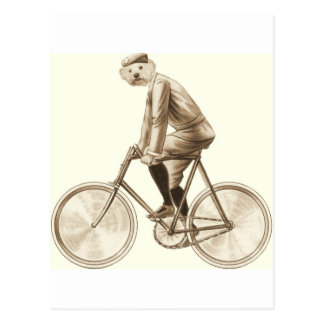 Dog on a bike vintage mixed media print postcard