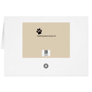 Dog on blank note card with paw prints