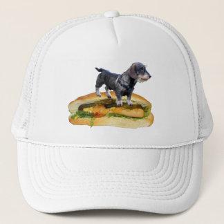Dog on hot dog cap