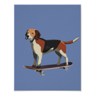 Dog on Skateboard, Beagle, Denim Poster