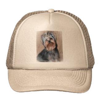 Dog on textile background cap