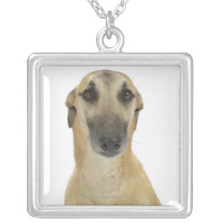 Dog on White 41 Silver Plated Necklace