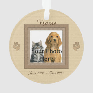 Dog or Cat Beige Perfect Memories Photo Ornament