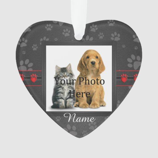 Dog or Cat Custom Grey Paw Prints Memorial