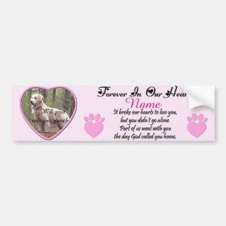 Dog or Cat Memorial Pink Bumper Sticker