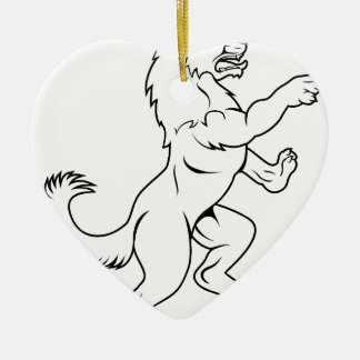 Dog or Wolf in Heraldic Rampant Coat of Arms Pose Ceramic Heart Decoration