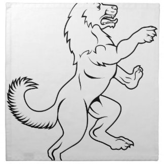 Dog or Wolf in Heraldic Rampant Coat of Arms Pose Napkin