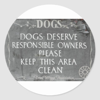Dog owners sign round sticker