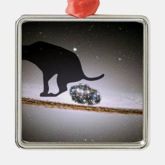 Dog p. over Galaxy Christmas Ornament