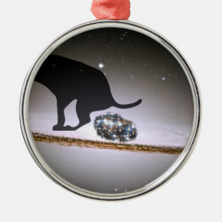 Dog p. over Galaxy Christmas Ornament
