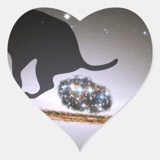 Dog p. over Galaxy Heart Sticker