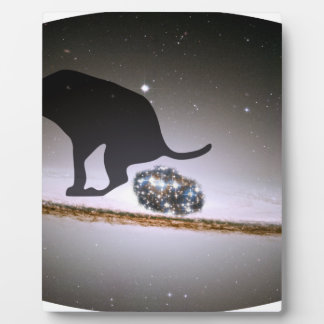 Dog p. over Galaxy Plaque
