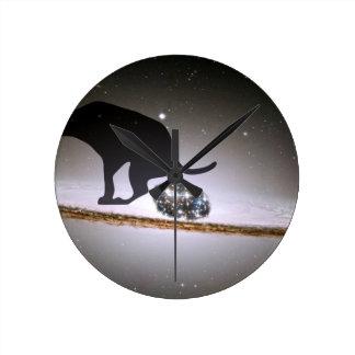 Dog p. over Galaxy Round Clock