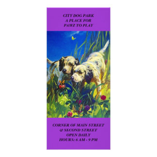 DOG PARK LOCATION WELCOME WAGON Rack INFO Cards Full Color Rack Card