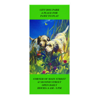 DOG PARK LOCATION WELCOME WAGON Rack INFO Cards Customised Rack Card