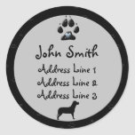 Dog Paw Black and Grey Business  Address Labels Round Sticker