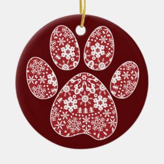 Dog Paw, Boho Christmas Snowflakes Round Ceramic Decoration