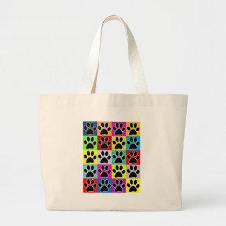 dog paw coloured large tote bag