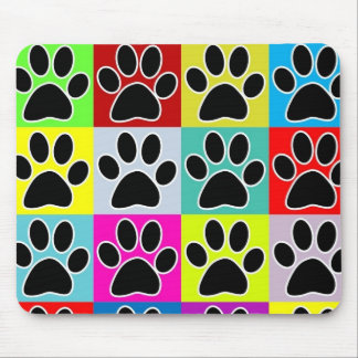 dog paw coloured mouse pad