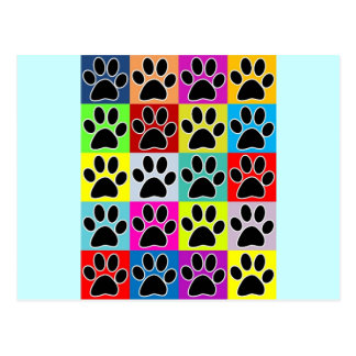 dog paw coloured postcard