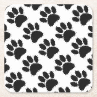 Dog Paw Drawing Square Paper Coaster
