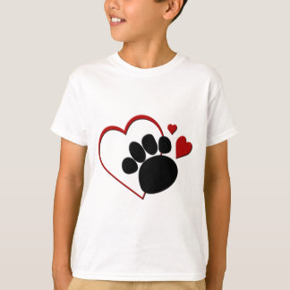 Dog Paw Hearts I Love my Dog Kids T-shirt