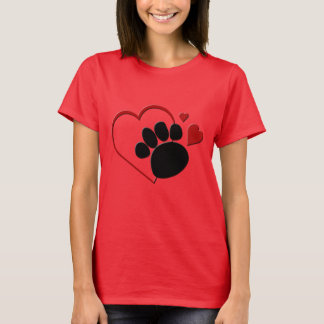 Dog Paw Hearts I Love my Dog Ladies Red T-shirt