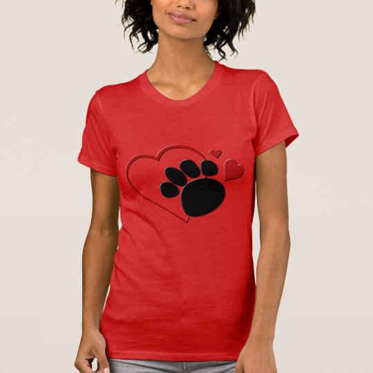 Dog Paw Hearts I Love My Dog Red