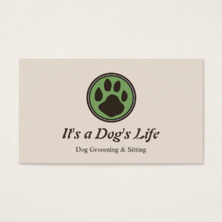 Dog Paw Logo Pet Sitting and Grooming Business Card