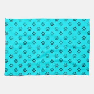 Dog Paw Print Blue Teal Aqua Background Metallic Tea Towel