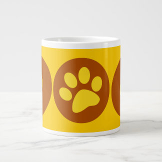 DOG PAW PRINT BROWNS YELLOWS CAUSES ANIMALS PETS JUMBO MUG