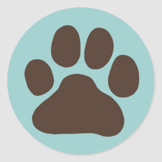 Dog Paw Print Classic Round Sticker
