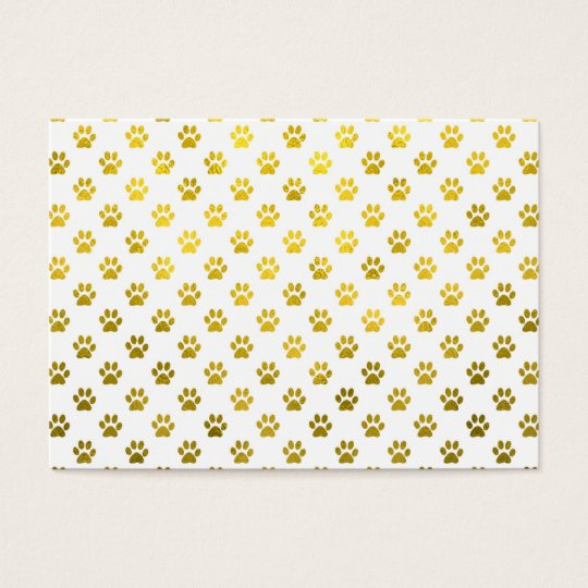 Dog Paw Print Gold White Metallic Faux Foil
